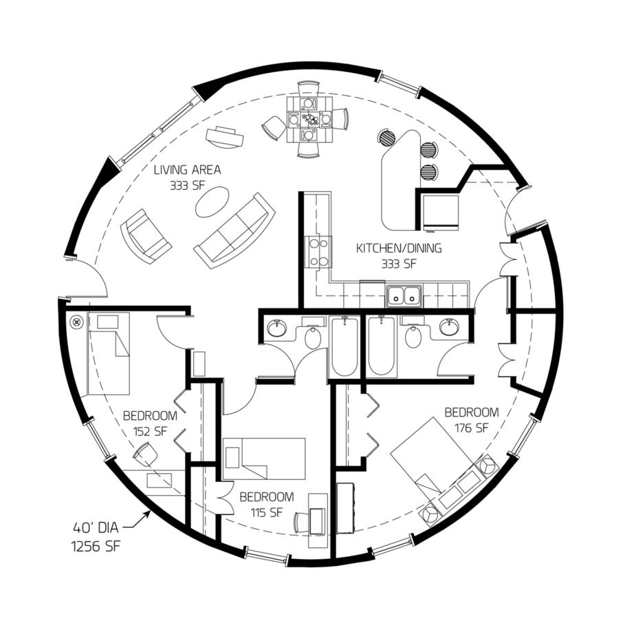 Concrete Dome Home Plans: Concrete Dome 1256 SQ' Model D